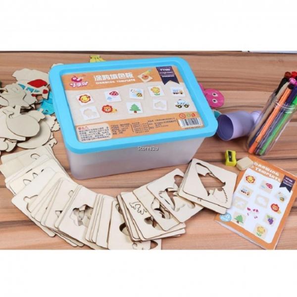 Trusa desen cu Sabloane din lemn si accesorii pentru copii 1