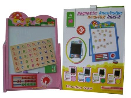 Tabla educativa cu ceas si abac rama colorata galbena 0