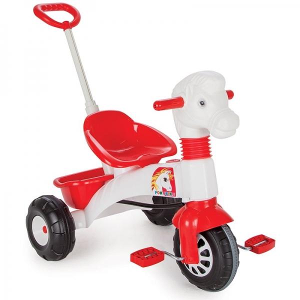 Tricicleta cu pedale si maner de impins Poney 0