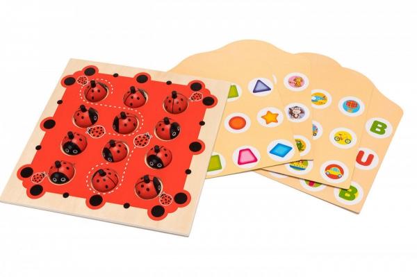 Joc de Memorie din Lemn Ladybug - Joc de memorie din lemn cu planse 0