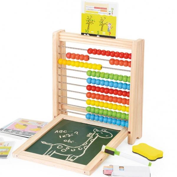 Abac cu tabla cu 2 fete din lemn cu accesorii 4 in 1 2