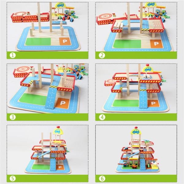 Jucarie Parcare din lemn Public Garage cu accesorii 4