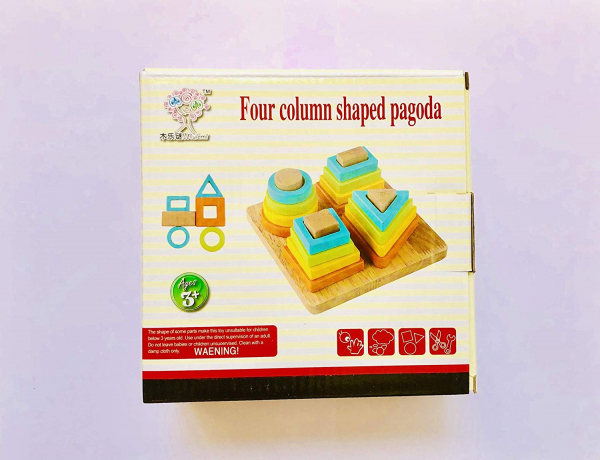 Joc lemn forme Geometrice 4 nivele - Sortator forme Geometrice 4 coloane 2