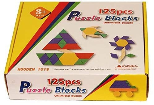Joc din lemn Tangram Puzzle Blocks 125 piese 8