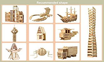Joc de construit din lemn natur 300 de piese 2