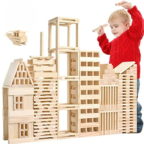 Joc de construit din lemn natur 300 de piese 4