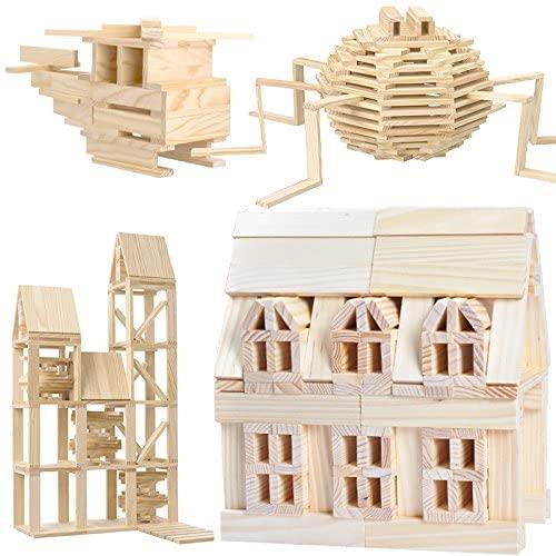 Joc de construit din lemn natur 300 de piese 6