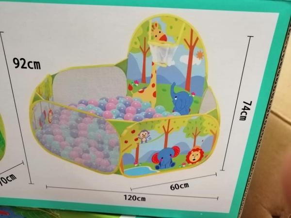 Piscina copii Girafa cu mini cos 100 bile - Tarc bebe 100 bile 2