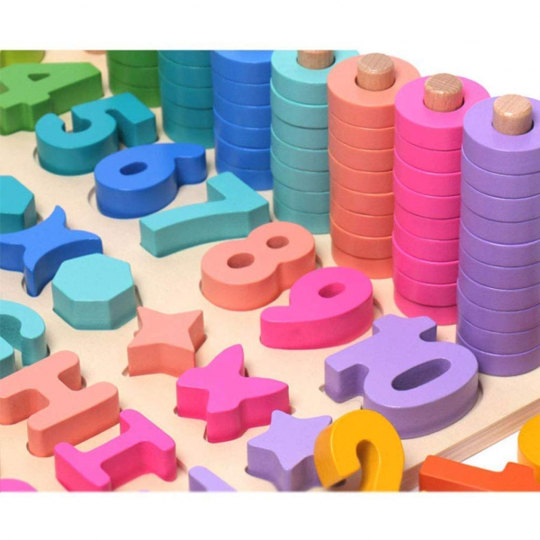 Joc Lemn Litere si Cifre 6 in 1 Joc Montessori Litere Cifre Mari [4]