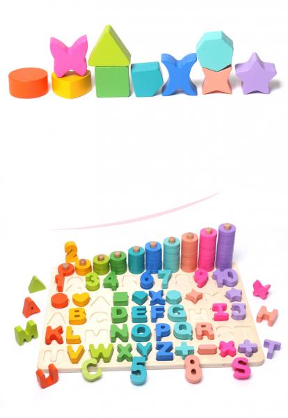 Joc Lemn Litere si Cifre 6 in 1 Joc Montessori Litere Cifre Mari [6]