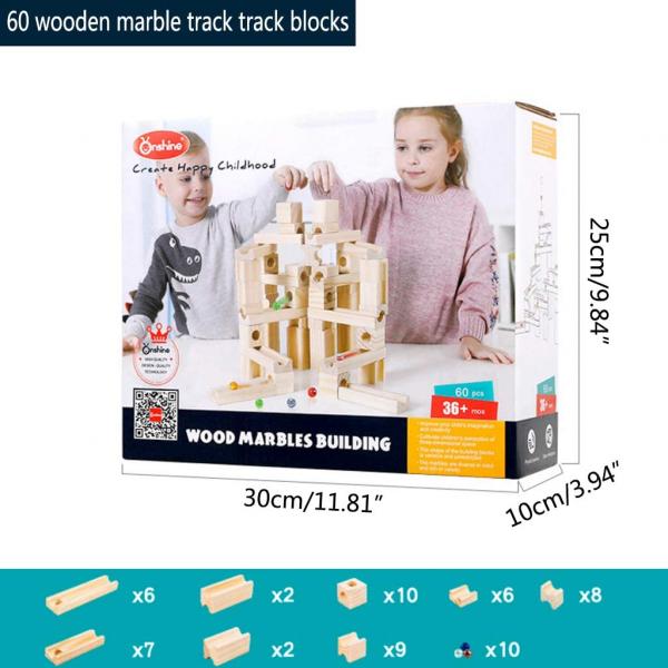 Joc de Construit din Lemn Circuit cu Bile - Joc lemn Marbel Run Onshine 0