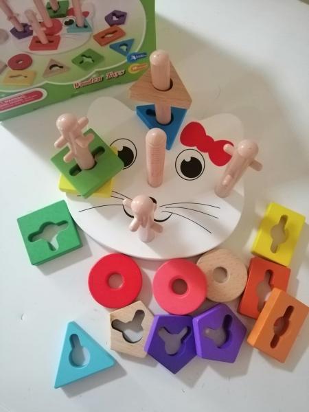 Joc lemn educativ puzzle  Pisicuta5 coloane 5