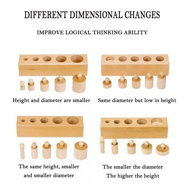 Joc de lemn Cilindrii Montessori set 4 cilindiri 9