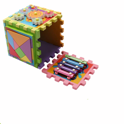Joc Cub din lemn multi-functional 6 in 1  Puzzle 2