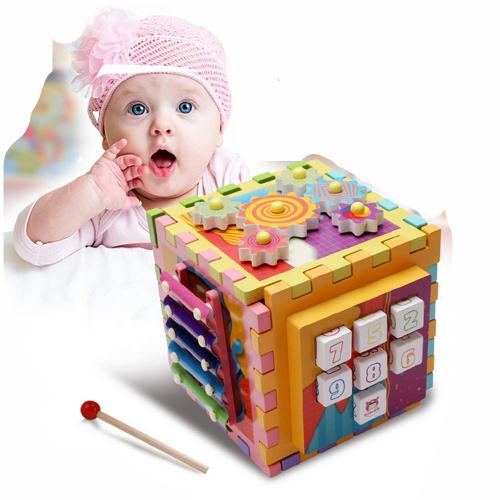 Joc Cub din lemn multi-functional 6 in 1  Puzzle 0