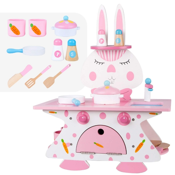 Mini bucatarie de lemn Pink Rabbit 2