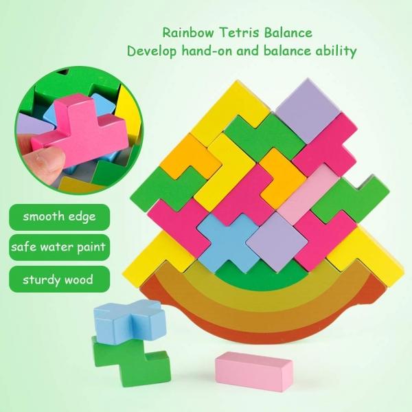 Joc echilibru din lemn Tetris Curcubeu 4