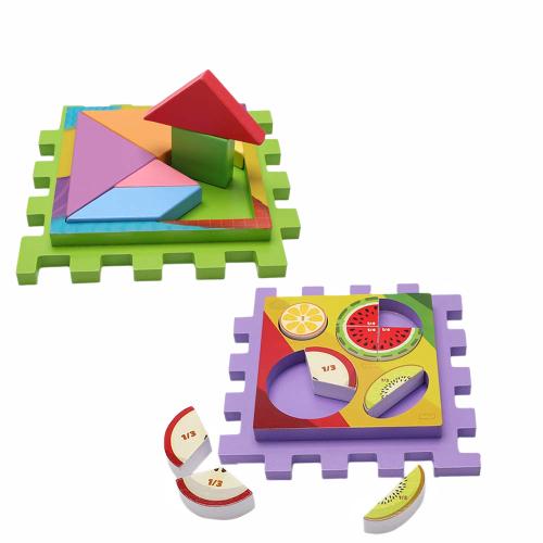 Joc Cub din lemn multi-functional 6 in 1  Puzzle 3