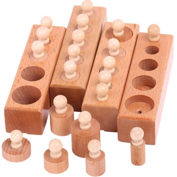 Joc de lemn Cilindrii Montessori set 4 cilindiri 5