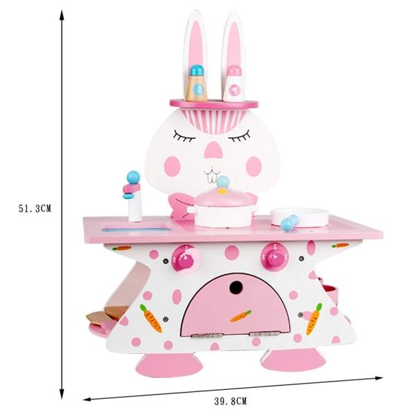 Mini bucatarie de lemn Pink Rabbit 3