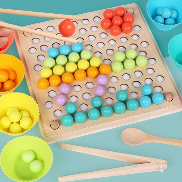 Joc din lemn montessori Sortator culori 15