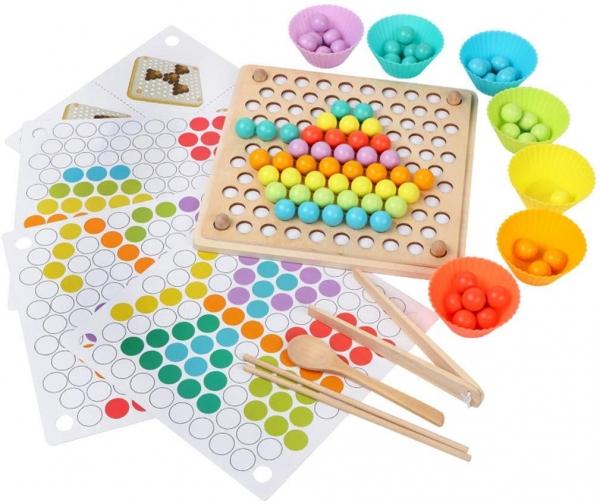 Joc din lemn montessori Sortator culori 0