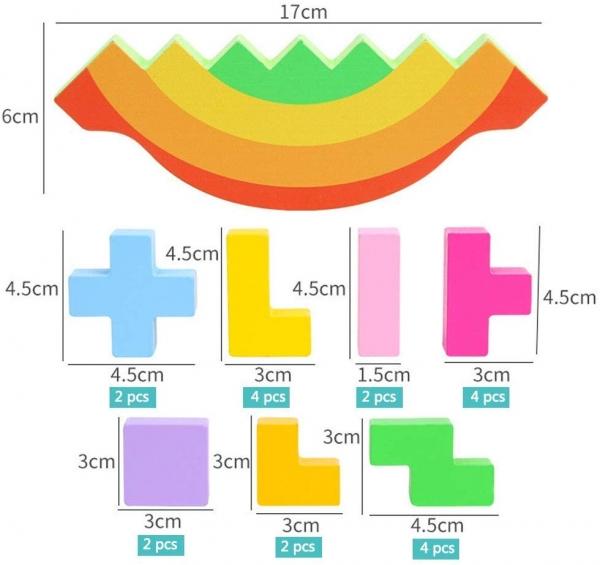 Joc echilibru din lemn Tetris Curcubeu 3