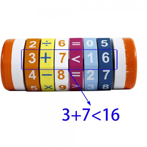 Joc Cilindru  din lemn Puzzle Aritmetic  Onshine 4