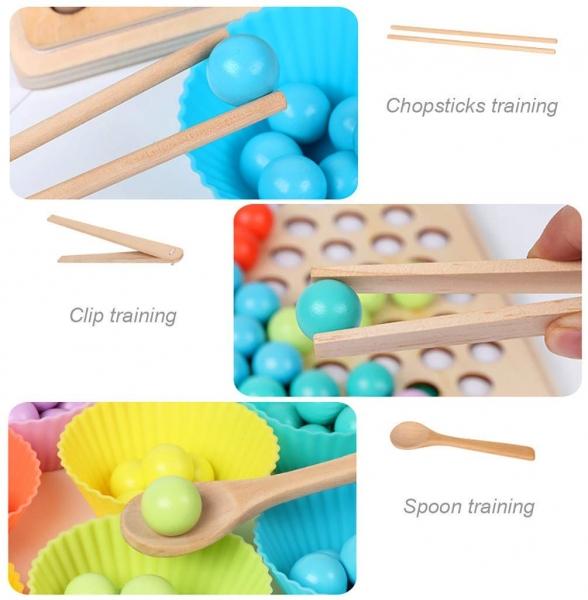 Joc din lemn montessori Sortator culori 14