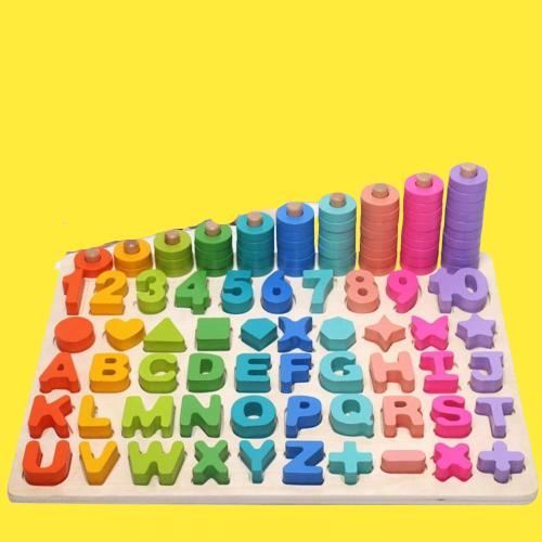 Joc Lemn Litere si Cifre 6 in 1 Joc Montessori Litere Cifre Mari [0]
