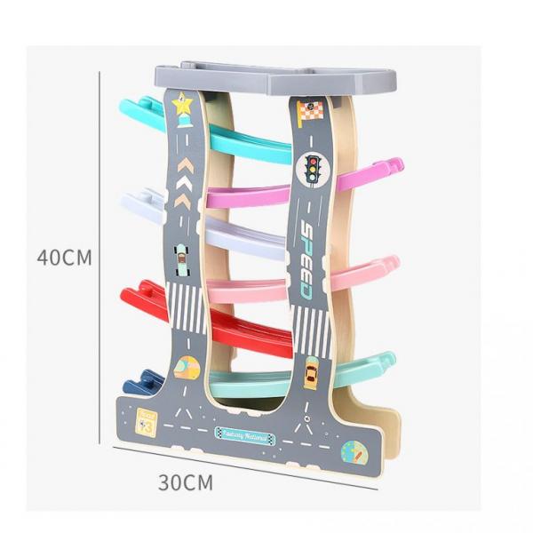 Circuit de Lemn cu Masinute 7 Piste - Pista de curse din lemn 2