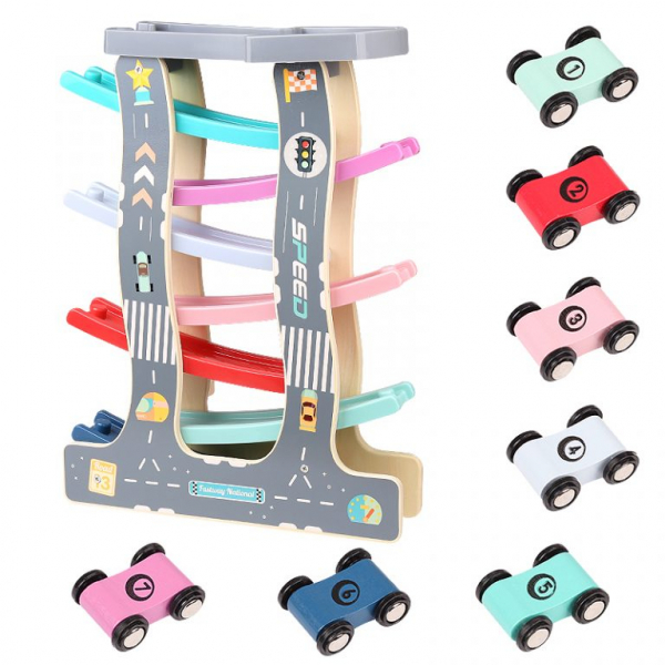 Circuit de Lemn cu Masinute 7 Piste - Pista de curse din lemn 0