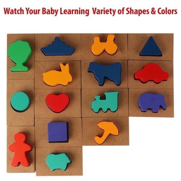 Puzzle din lemn Blocuri colorate si decupaje Pigloo 6