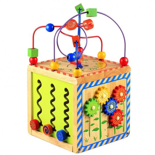 Centru de activitatii Cub din lemn 6 in 1 Bead Maze 5