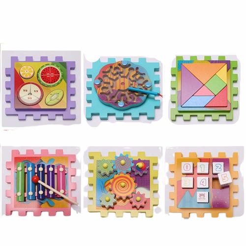 Joc Cub din lemn multi-functional 6 in 1  Puzzle 4