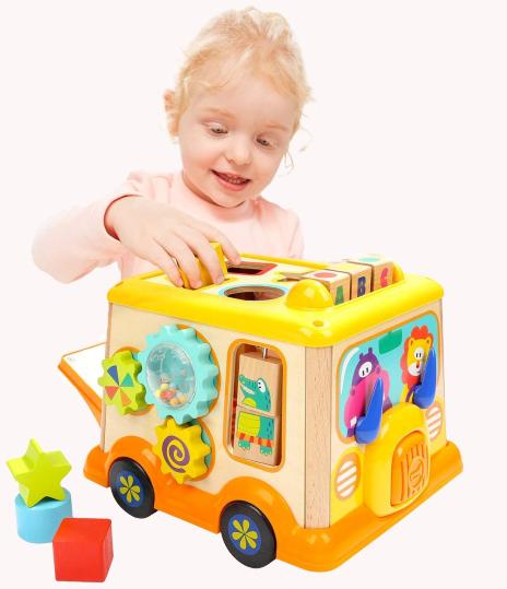 Autobuz din lemn cu centru de activitatii si sunete 0