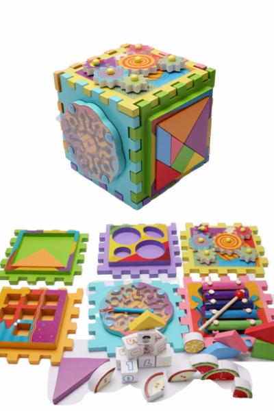 Joc Cub din lemn multi-functional 6 in 1  Puzzle 5