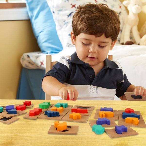 Puzzle din lemn Blocuri colorate si decupaje Pigloo 0