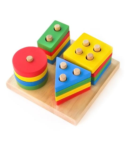 Joc din lemn figuri geometrice sortare Color Set 0