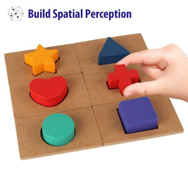 Puzzle din lemn Blocuri colorate si decupaje Pigloo 5