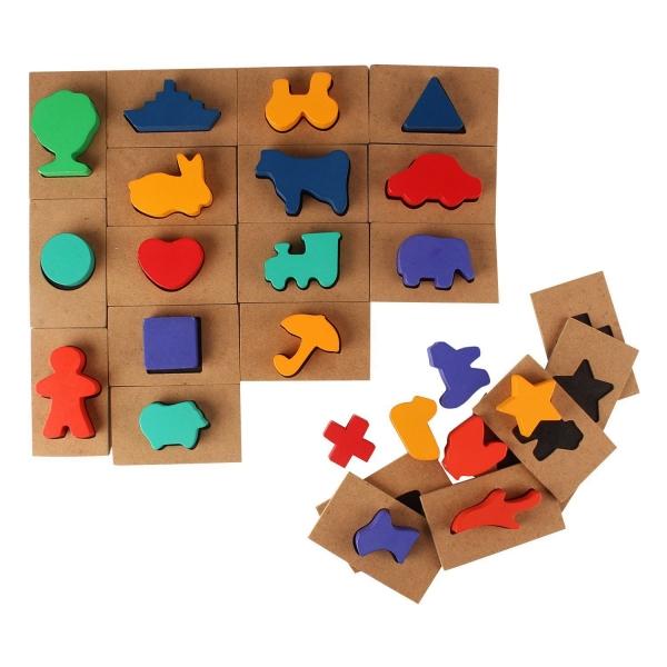 Puzzle din lemn Blocuri colorate si decupaje Pigloo 4