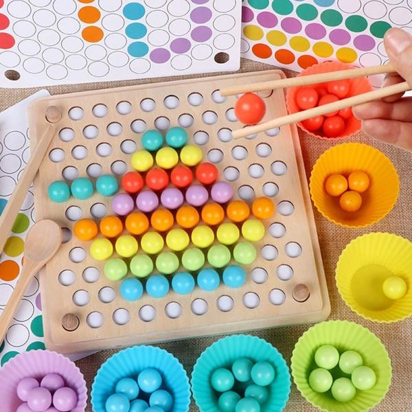 Joc din lemn montessori Sortator culori 16