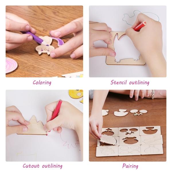 Trusa desen cu Sabloane din lemn si accesorii pentru copii 3
