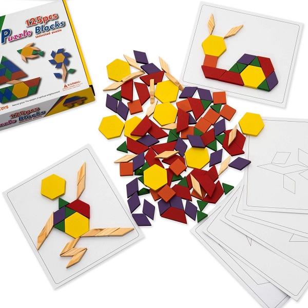 Joc din lemn Tangram Puzzle Blocks 125 piese 7