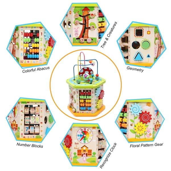 Centru de activitatii Cub multifunctional 9 in 1 Mushroom 6