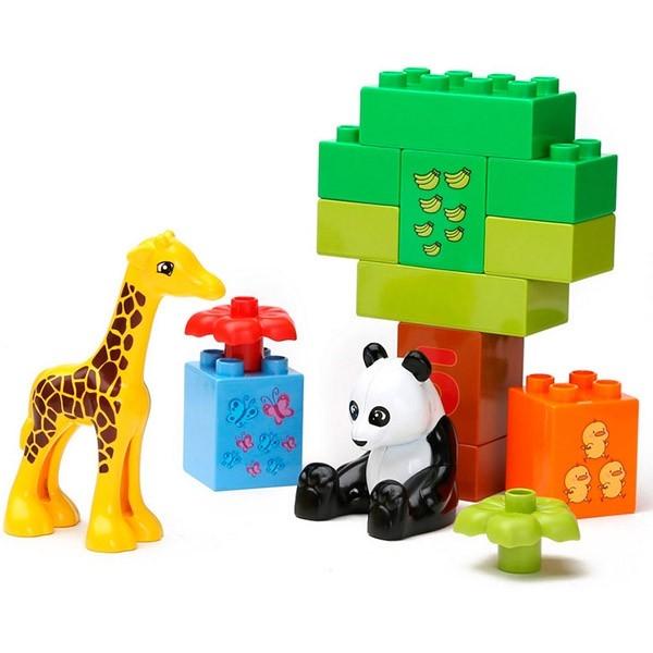 Set cuburi de construit cu cifre si animale tip duplo 42 de piese 4