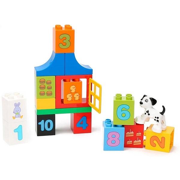 Set cuburi de construit cu cifre si animale tip duplo 42 de piese 2