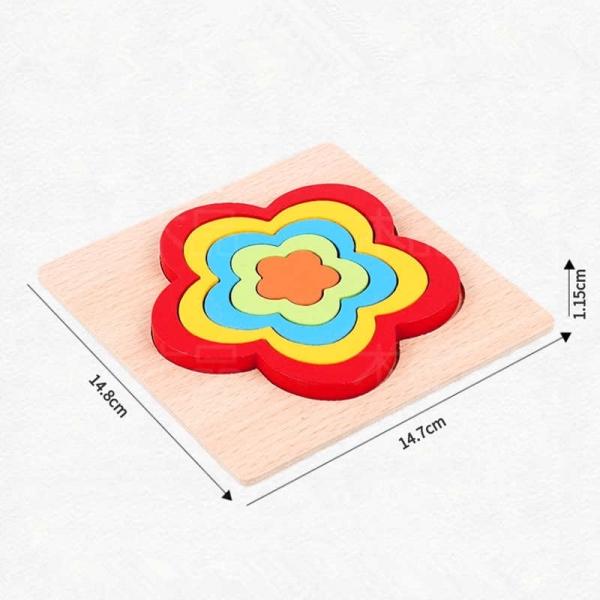 Set 2 Puzzle lemn 3D Curcubeu forme si culori 17