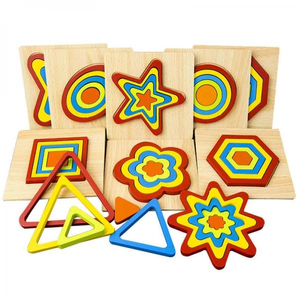 Set 2 Puzzle lemn 3D Curcubeu forme si culori 0