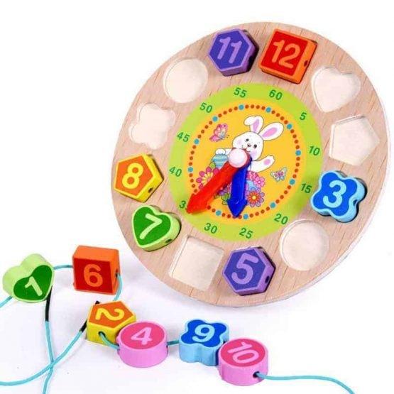 Ceas din lemn 2 in 1 pentru copii -  Ceas lemn cu forme geometrice 0